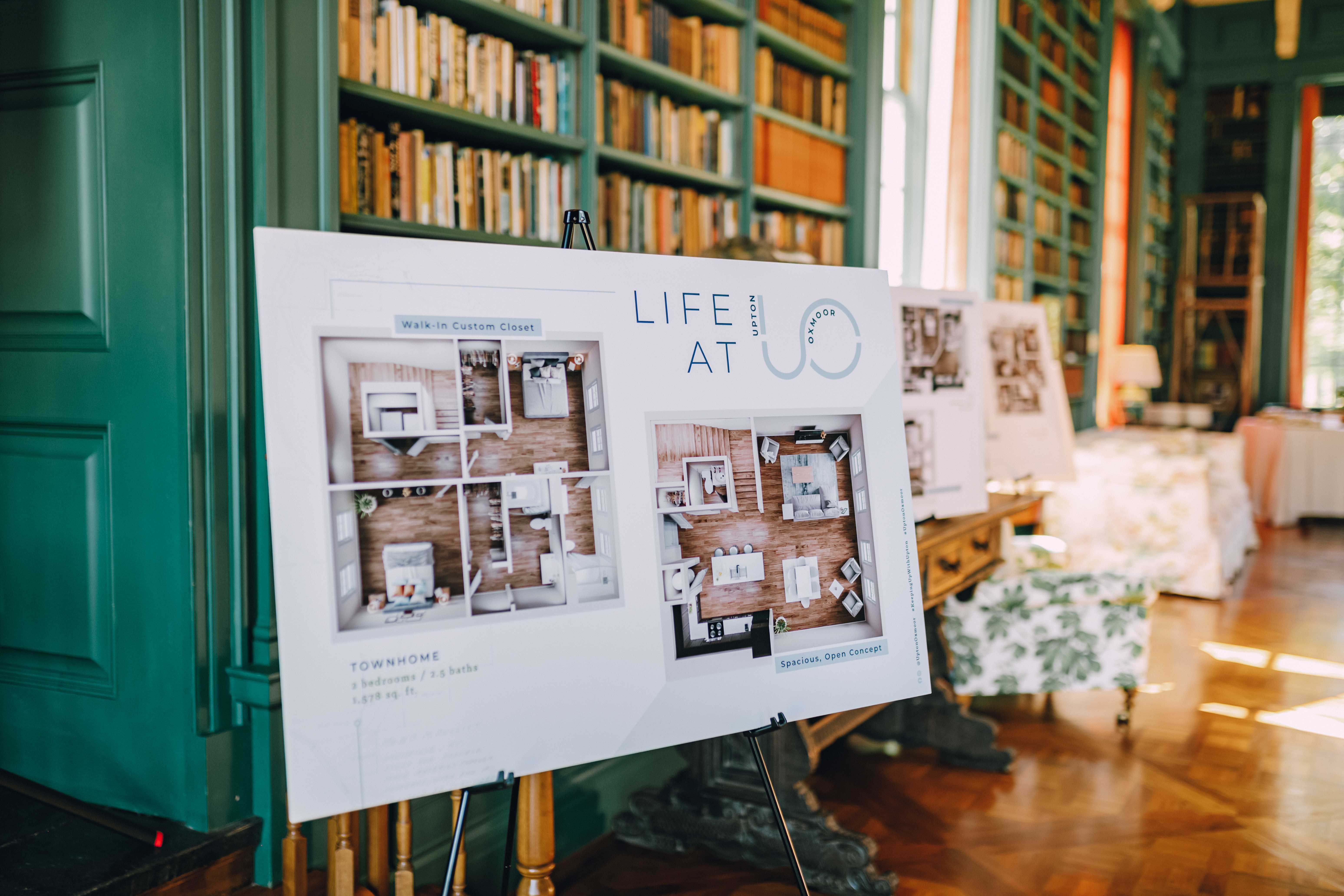 Life at Upton Oxmoor sign with 3D floor plans